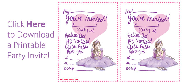 Download a printable princess party invitation!